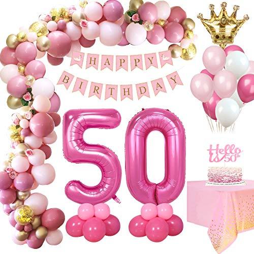 MMTX Decoracion Festa Rosa Retro de Cumpleaños Mujeres 50 Año, Foil Helio Globo Número 50, Pancarta de Feliz Cumpleaños, Adornos Globos de Latex Confeti Crown Manteles, Aniversario Niña Cumpleaños
