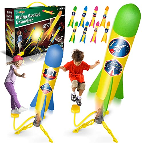 V-Opitos Rocket Launch Toys for Kids Age of 3, 4, 5, 6, 7, 8 Year Old Boys & Girls, 2 Pack Stomp Launchers with 8 Colorful Foam Rockets, Top Outdoor Game, Ideal Christmas & Birthday Gift