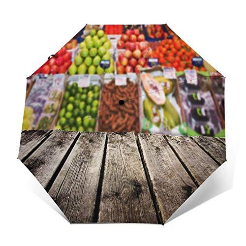 Paraguas Plegable Automático Impermeable Producir Fruta Supermercado Verde, Paraguas De Viaje Compacto a Prueba De Viento, Folding Umbrella, Dosel Reforzado, Mango Ergonómico