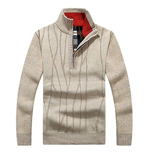 Otoño de los Hombres Casual Suéter de la Capa de Jerséis Masculino Invierno Slim Fit Stand Collar Suéter de punto M-3XL