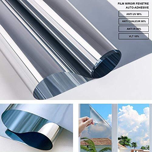 RMane Spiegelfolie Fensterfolie Selbsthaftend Sonnenschutzfolie Blickdichte Wärmeisolierung 99% Anti-UV Sichtschutz Fenster Dachfenster Folie - Silber (Silber, 90 x 200 cm)