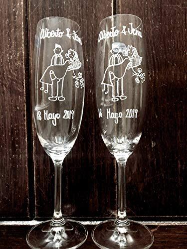 OFERTA LIMITADA. COPAS DE BRINDIS PERSONALIZADAS. UNICAS ¡ regalo de boda perfecto...
