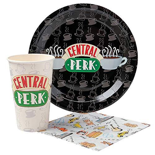 Warner Bros Frd2015T Amis Central Perk Logo Paper Party Pack Set-20 pièces, Noir et Blanc Assortiment