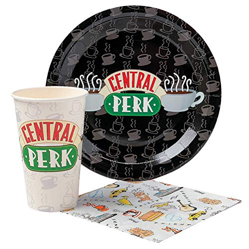 Warner Bros Frd2015T Amis Central Perk Logo Paper Party Pack Set-20 pièces, Noir et Blanc Assortiment