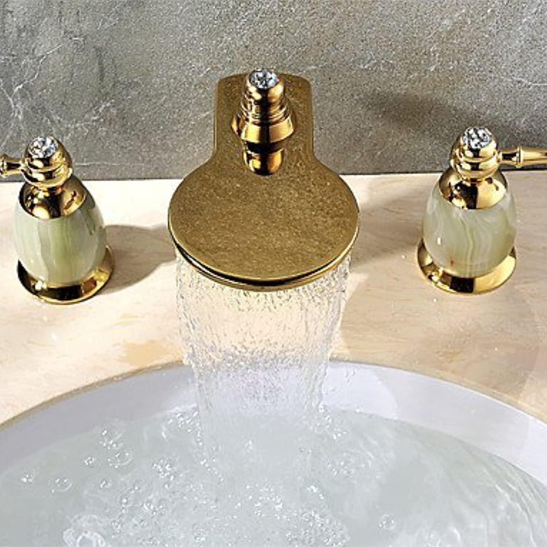 YI KUI Waschtischarmaturen Zeitgenssische verbreitet Wasserfall mit Keramik entil zwei Griffen drei Lcher für Ti-PD, Waschbecken Wasserhahn