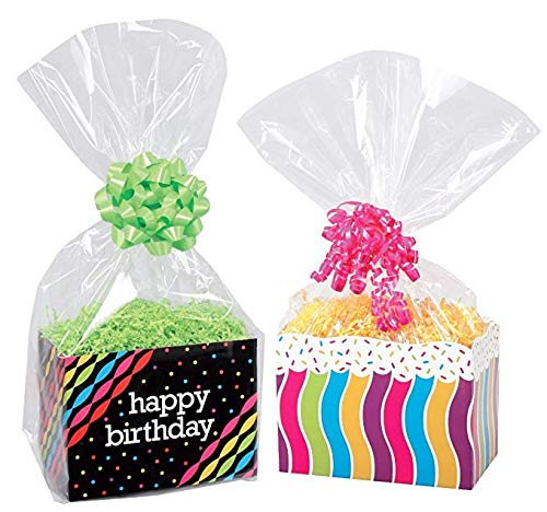 100 Pack (14x20) Clear Cello Basket Cellophane Bags - Gift Package Flat Gift Bag.