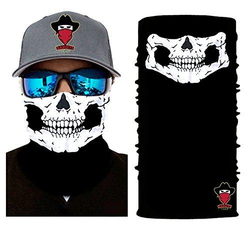 Bandits Team I Bedrucktes Multifunktionstuch I Face Shield aus Mikrofaser- fürs Motorrad-, Fahrrad- und Skifahren I Farbe: Totenkopf I 1er Pack