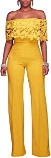f1b7555df04 Vamvie Women s Sexy Off Shoulder Lace Ruffle Long Pants Wide Leg Jumpsuits  Rompers