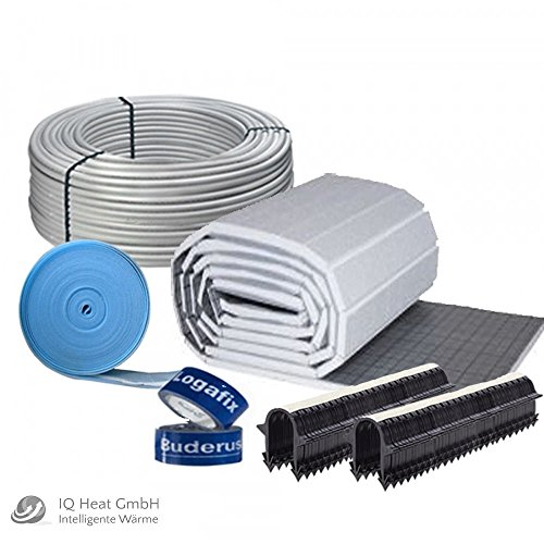 Buderus Fußbodenheizung 24 m² Komplettset / Heizung Tackerplatte 30-3 mm PE-RT Rohr 17x2