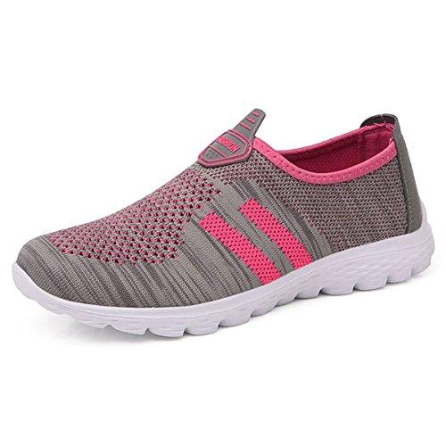 JIANKE Herren Damen Leichte Freizeitschuhe Atmungsaktiv Turnschuhe Sportschuhe Bequem Outdoor Fitnessschuhe Sneaker(Pink,37)