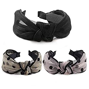 Beauty Shopping 3 Pcs Hogoo Fashion Hair Hoop Veil Design Headbands Cross Knot Bow Hairbands Hair Accessories for Women