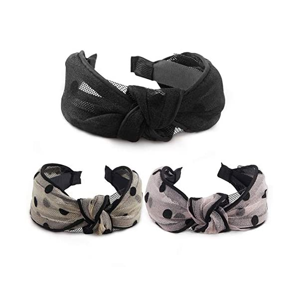 [category] 3 Pcs Hogoo Fashion Hair Hoop Veil Design Headbands Cross Knot