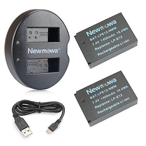 Newmowa LP-E12 Batería de Repuesto (2-Pack) y Kit de Cargador Doble para Canon LP-E12...
