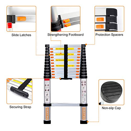 BEETRO 10.5ft Aluminum Telescoping Ladder, Extension Folding Ladder, Multipurpose Ladder for Roofing Business, Outdoor Working, Household Use and More, 330 LB Capacity