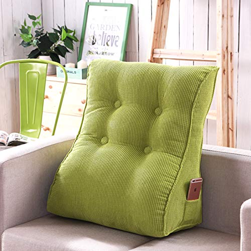 xdvdfvbdf Living Room Bedroom Large Bolster,Nordic Home Corduroy Reading Pillow,Back Support For Sitting Up IN Bed Couch-Green 45x55cm(18x22inch)