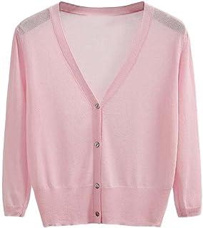 Guiran Womens 3/4 Sleeve Crop Cardigan Knitted Bolero Air Conditioning Shirt Thin Cardigan