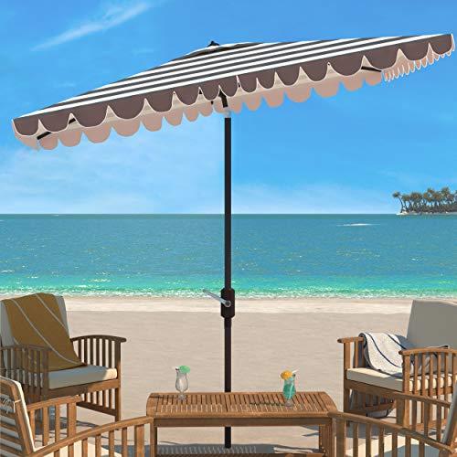 "Outdoor Vienna Grey and White 6'6"" x 10' Rectangle Crank UV Protected Umbrella - Safavieh PAT8311B"
