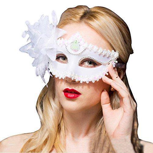 Fellibay Venezianische Masken Masken für Erwachsene Masquerade Masken Frauen Karneval Party Maske Kostüm Mardi Maske mit Feder Blumen für Party