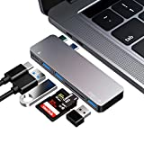 USB C Hub, 6 in 1 Type C Aluminum Hub Adapter MacBook Pro Accessories with 3 x USB 3.0 Ports, TF/SD Card Reader, USB C Port with 40Gb/S Speed, Support for MacBook Pro 13″ and 15″2016-2018