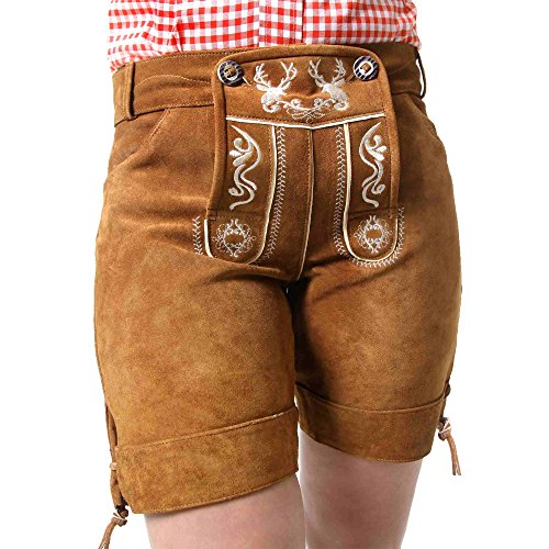 Almbock Trachten-Lederhose Damen Betty braun in Gr. 34 36 38 40 42 - kurz, mit Latz und Stickereien