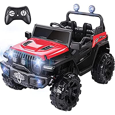 METAKOO Ride On Truck 2WD&4WD, Kids Electric Truck 12V 10Ah with Remote Control, Double Open Doors, Safety Belt & Spring Suspension, LED Lights, USB/ Bluetooth Player, Horn Button, Gift for Kids-Red by METAKOO