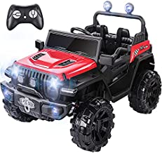 METAKOO Ride On Truck 2WD&4WD, Kids Electric Truck 12V 10Ah with Remote Control, Double Open Doors, Safety Belt & Spring Suspension, LED Lights, USB/ Bluetooth Player, Horn Button, Gift for Kids-Red