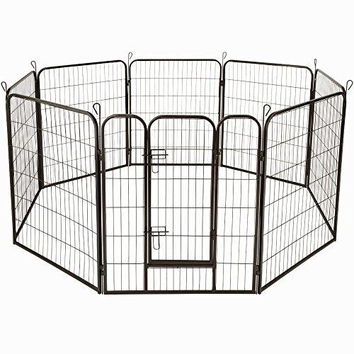 AUFUN Recinzione per Cani Recinto Recinti da Esterno per Cani Gatti Cuccioli Conigli Animali Nero Ferro Gabbia di 8pz - 80 X 100 cm