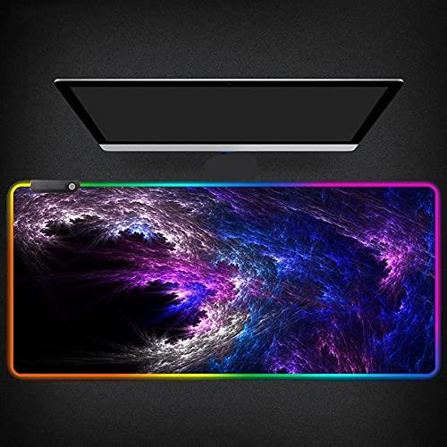 Alfombrilla de Ratón RGB para Juegos,Azul,Púrpura,Espacio En La Nube,Escritorio Duradero para Juegos,Pc,Ordenador,Alfombrilla de Ratón Luminosa 900X400Mm