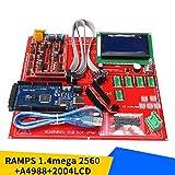 Kit de impresora 3D Conjunto de placa base de impresora 3D con RAMPS 1.4 + Mega 2560 + 5 piezas Módulo A4988 + Panel de control 12864LCD - Multicolor
