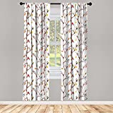 Ambesonne Autumn Window Curtain Watercolor Birds on a Tree with Yellow Leaves During Fall Season, Lightweight Decorative Panels Set of 2 with Rod Pocket, 56' x 95', Peach White