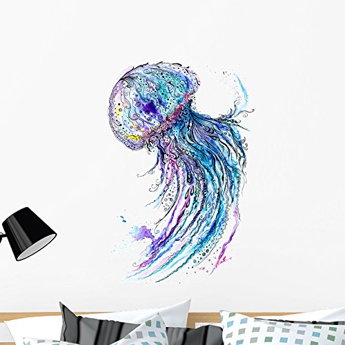 Wallmonkeys FOT-79879676-36 WM52243 Jelly Fish Watercolor and Ink Painting Peel and Stick Wall Decals (36 in H x 26 in W), Large
