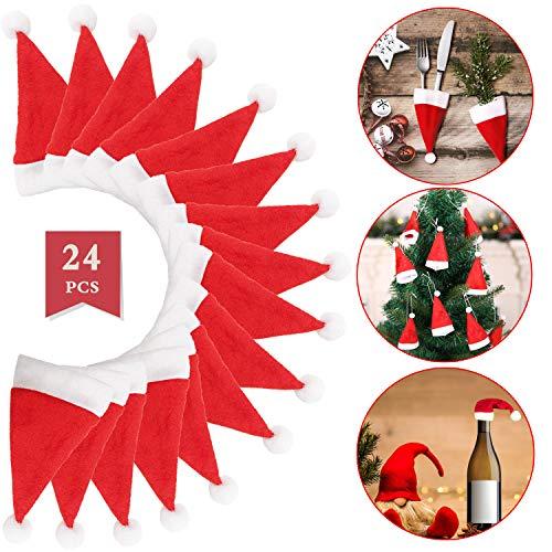 Bigbigjk 24 Stück Weihnachten Besteckhalter Bestecktasche Weihnachtsdeko Weihnachtsmütze Tisch Weihnachtsmann Hut für Esstisch,Rotweinflasche Weinglas, Serviettentasche