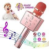 BeTIM Micrófono Inalámbrico de Karaoke Bluetooth para Niños, Micrófono de Karaoke Portátil de Mano con Altavoz, Compatible con Android/iOS/PC/AUX, para KTV en Casa/Fiesta al Aire (Rosa)