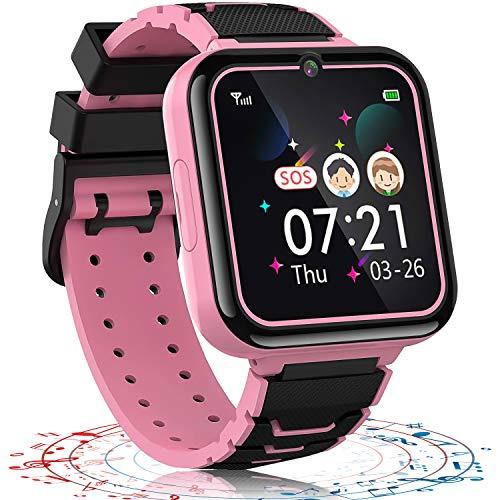Vannico Reloj Inteligente niño, 12 in 1 Smartwatch para Niños Game Watch 7 Juegos SOS Llamada Música Cámara Grabadora para 3-12 Niño Niña, Soporta 4G/2G Tarjetas Micro SIM(Rosa)
