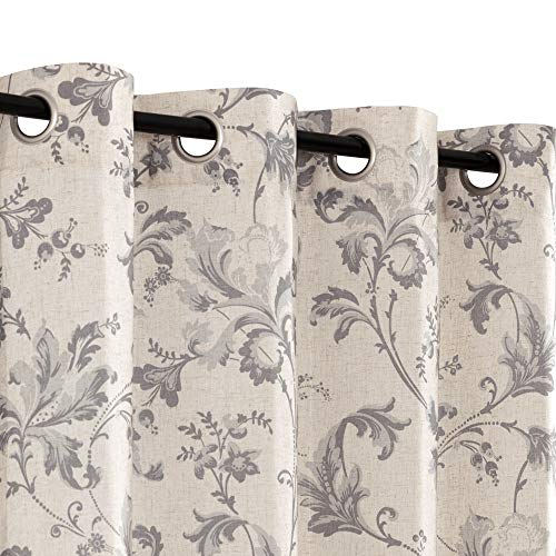 Topick Linen Curtains for Bedroom Grey Flower Drapes 84 Inch Gray Curtain Set Living Room Floral Pattern Window Curtain Beige Tan Flax Burlap Grommet Ring Top Vintage Scroll Kitchen Curtain