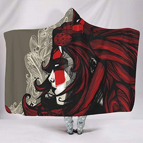 Wandlovers Manta con capucha para niñas, diseño étnico, león, estampado geométrico, cálido para invierno, ligera, para viaje, color blanco, 130 x 150 cm