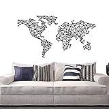 Adhesivo decorativo para pared, diseño de mapa del mundo, diseño geométrico, diseño de mapa del mundo, vinilo para decoración del hogar, póster Y-793 (57 x 93 cm), color negro