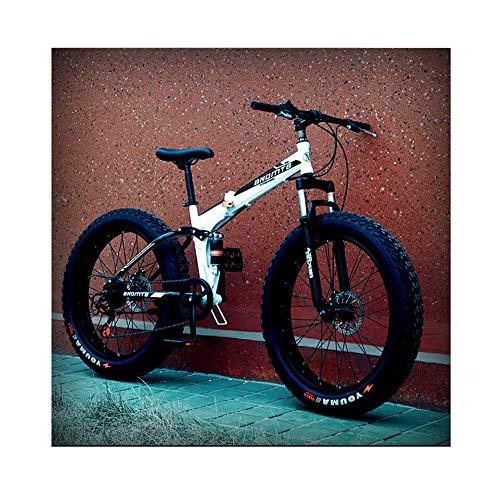 """TOPYL Adult Mountain Bikes,Dual Suspension Frame and Suspension Fork All Terrain Mountain Bike,Fat Tire Hardtail Mountain Bike White and Black 24"""",21-Speed"""