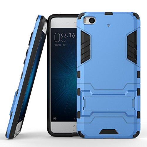 Sunrive para Xiaomi MI5S 5,15 Pulgadas Funda, Fuerte Híbrido de Doble Capa Cubierta Resistente con la Función de Soporte Choque Absorción Funda Gel Carcasa Case Bumper(Azul Claro) + 1 x Lápiz óptico
