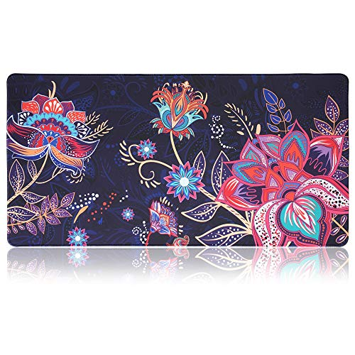 "SANFORIN Extra Large Mouse Pad - Flower Design Gaming or Desk Mouse pad - 31.5"" x 15.7""x0.12''(3mm Thick)- XXL Protective Mouse Keyboard Desk Mat for Computer/Laptop - Bohemian"