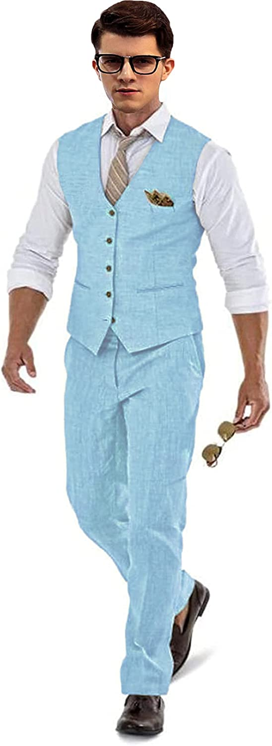 Linen Groom Tuxedos Summer Suit Set Now List price free shipping for We Beach Pants Vest Blue