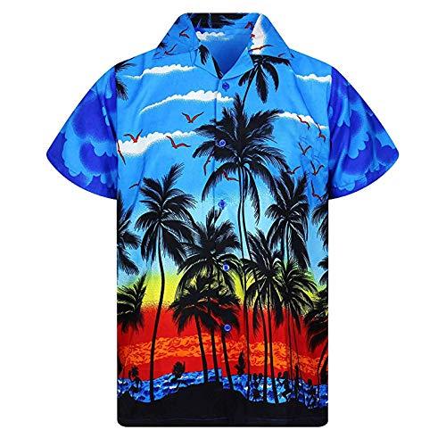 T-Shirt Leopard Print Herren Kurzarm Hemd Knopf Retro T Shirts Tops Sommer Strand Freizeit Shirts Mode Baggy Kleidung Bluse Tops Weich Atmungsaktiv Bequem Oberteil mit Tasche