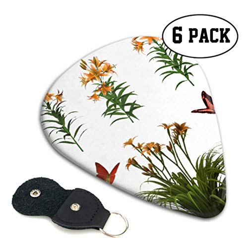 Flowers Isolated Butterfly Plant Tiger Lily Kids Guitar Pick Holder Guitar Picks For Women 6 Pack Heavy 0.46 MM Gift For Bass,electric & Acoustic Guitars