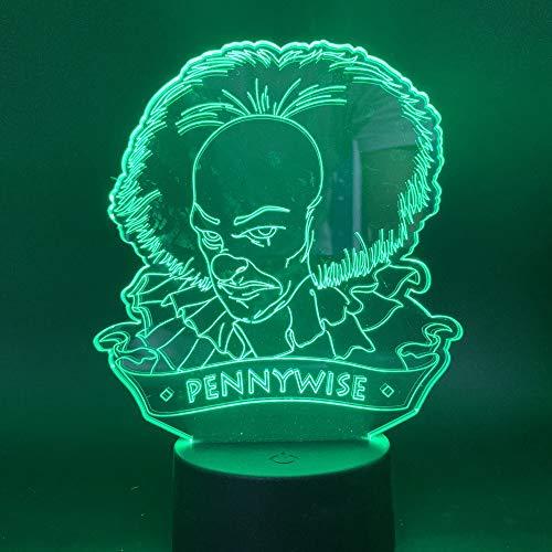 Movie It Kapitel Eins Pennywise Figur Büro Halloween Horror Nachtlicht 3D LED USB Tischlampe Kinder Geburtstagsgeschenk Nachtzimmer Dekoration