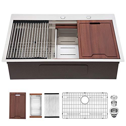 Lordear 33 Inch Kitchen Sink Drop In Topmount 16 Gauge Deep Single Bowl Stainless Steel Luxury Ledge Workstation Kitchen Sink