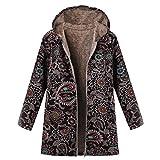 Logobeing Chaqueta Abrigos Mujer Invierno Rebajas Talla Grande Elegantes Suéter Abrigo de Lana con Capucha y Estampado éTnico con Cremallera Vintage Coat (XL, Negro)