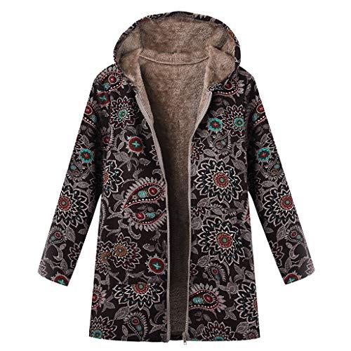TOPKEAL Jacke Warme Mantel Damen Herbst Winter Sweatshirt Blumendruck mit Kapuze Kapuzenjacke Hoodie Taschen Pullover Übergroße Outwear Coats Mode Tops (Schwarz, S)