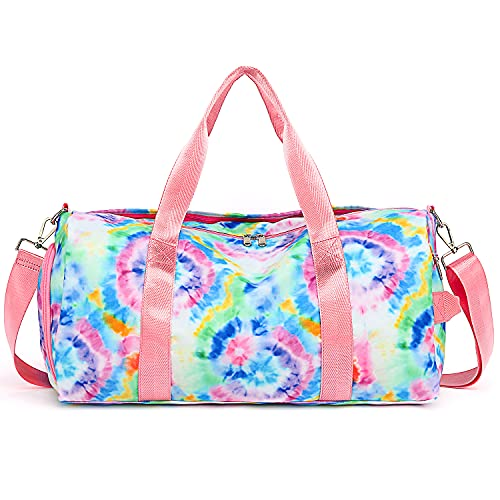 Duffle Bag for Girls Teen Sport Gym Bag Women Weekender Carry On Workout Duffel Overnight Shoulder Bag with Shoe Compartment (Tie Dye-Blue)