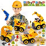 Take Apart Truck Construction Toys with Electric Drill, 4 in 1 Kids STEM Engineering Building PlaySet,Build Excavator,Crane,Truck,Mixer with Construction Hat,Traffic Signs Gift for Boys Kids Aged 3+