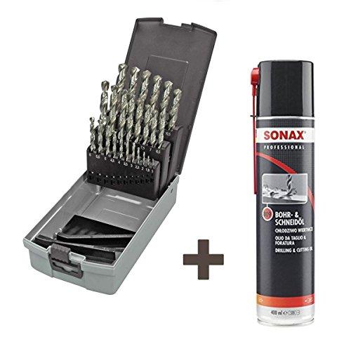 KEIL metaalboorassortiment HSS-E DIN 338 kobalt, geslepen, Split Point, 19-delig Ø 1,0-10,0 mm oplopend 0,5 mm, in RoseBox plus Sonax Professional boor- en snijolie, 400ml Keil HSS Split Point 19.tlg.+ Sonax Schneidöl